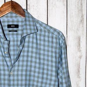 HUGO BOSS Sharp Fit Button Front Dress Shirt Blue